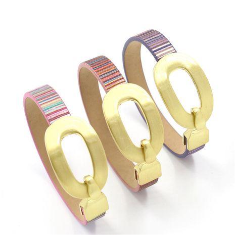 Bracelet en cuir PU rayé couleur jeunesse mode NHHM271338's discount tags