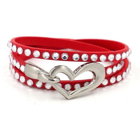 new heart-shaped hook buckle PU leather hot diamond bracelet  NHHM271339's discount tags