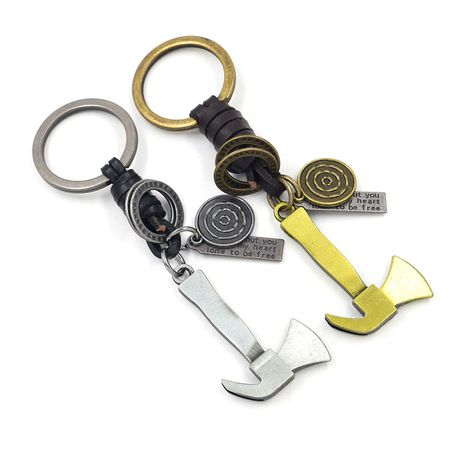 Korean  alloy axe cowhide woven keychain NHHM271342's discount tags