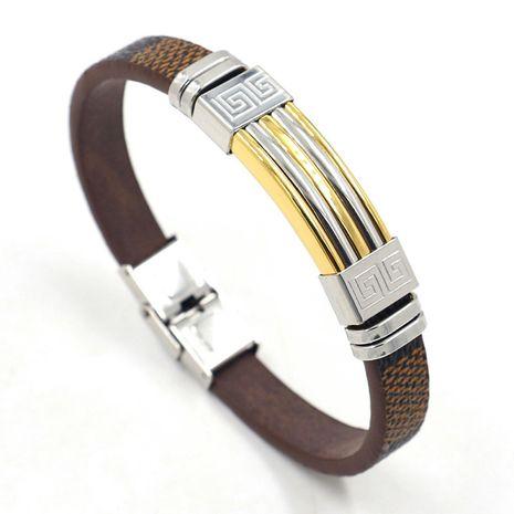 bracelet en cuir PU marron en acier inoxydable bicolore NHHM271351's discount tags