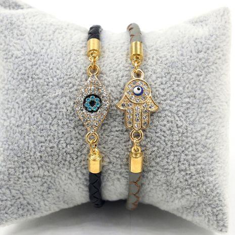 nueva pulsera de pareja de cuerda de cuero tejida con palma de ojos con incrustaciones de diamantes NHHM271358's discount tags