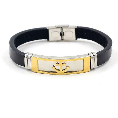 nouveau bracelet en acier inoxydable d'ancre d'or en cuir de titane en métal NHHM271359's discount tags