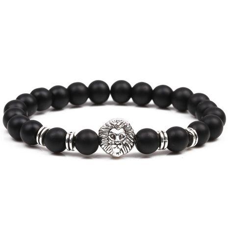 Bracelet de perles bouddhistes tête de lion en pierre noire mate NHYL271370's discount tags