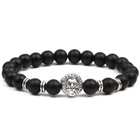 Black Matte Stone Lion Head Buddhist Bead Bracelet NHYL271370's discount tags