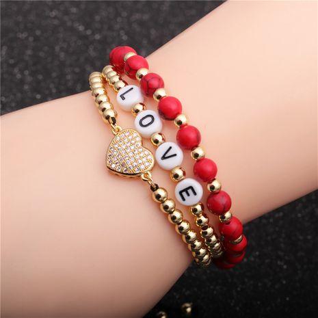 Bracelet love micro zirconium LOVE en perles de cuivre 4 mm NHYL271378's discount tags