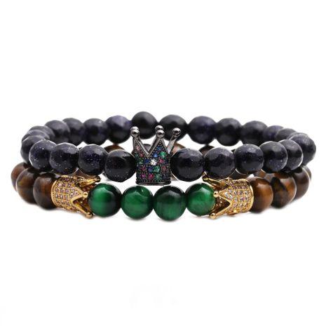Bracelet perlé couronne en grès bleu oeil de tigre NHYL271383's discount tags