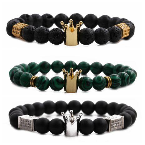 Nouveau bracelet homme perlé couronne en pierre volcanique NHYL271389's discount tags