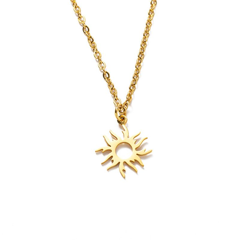 hotselling titanium steel sunflower crown necklace  NHYL271401