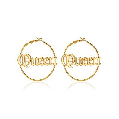 new personalized queen creative exaggerated round letter earrings NHMO271415