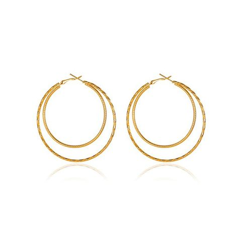 new  double large circle earrings exaggerated geometric circle hoop earrings  NHMO271417's discount tags