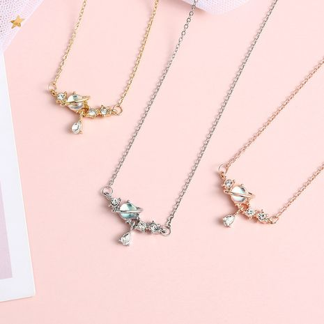 Simple Symphony small planet shape zircon inlaid diamond necklace wholesale NHBO271436's discount tags
