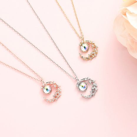 Hot selling inlaid diamond simple moon bend shape necklace wholesale NHBO271439's discount tags