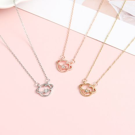 Simple couple planet diamond-studded necklace wholesale NHBO271441's discount tags