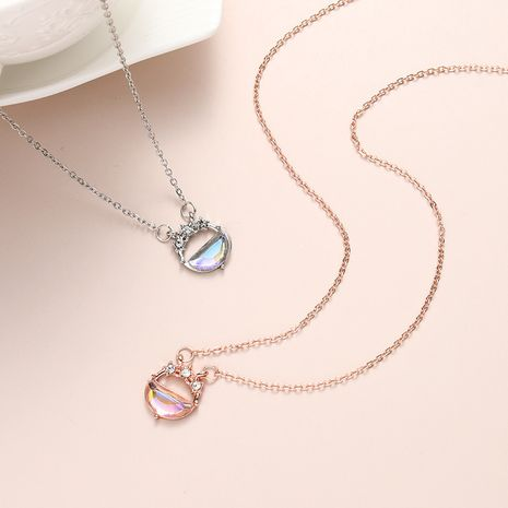 Simple diamond-studded star and moon pendant necklace wholesale NHBO271442's discount tags