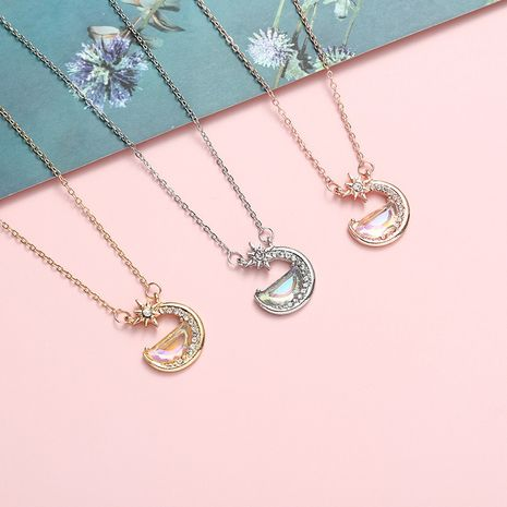 Creative crescent diamond simple necklace wholesale NHBO271450's discount tags