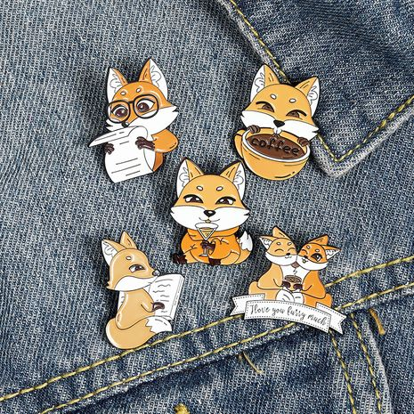 cute fox reading newspaper cartoon animal drinking coffee jewelry alloy brooch badge NHBO271452's discount tags