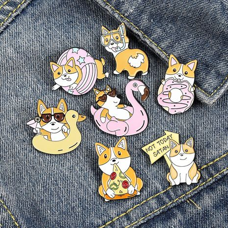 Korean cartoon puppy pizza doughnut swimming ring cute animal brooch NHBO271454's discount tags