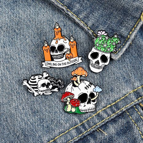 Halloween skull mushroom cactus candle alloy paint badge brooch wholesale NHBO271455's discount tags