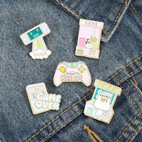 Cartoon creative mini game console jewelry claw machine kitten play game paint brooch badge NHBO271459's discount tags
