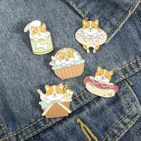 Cartoon cute puppy swimming ring hot dog badge brooch NHBO271462's discount tags