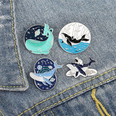 alloy creative cartoon animal cute whale astronaut planet simple brooch badge NHBO271465's discount tags