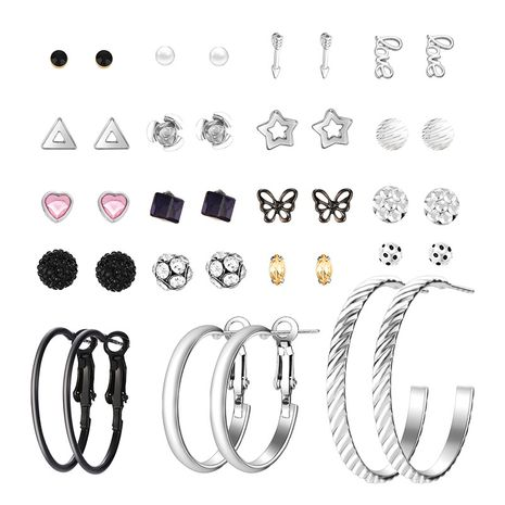 hot-selling  fashion  geometric ring love butterfly love letter earring set NHXS271476's discount tags
