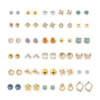 Korean fashion  round heart diamond geometric butterfly letter earrings NHXS271480