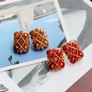 Rectangular Enamel Drop Glaze Silver Stud Earrings  NHOM271485