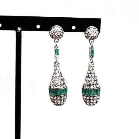 Green  white diamond full set earrings NHOM271486's discount tags