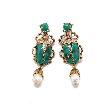 Dark green resin insect earrings  NHOM271497's discount tags