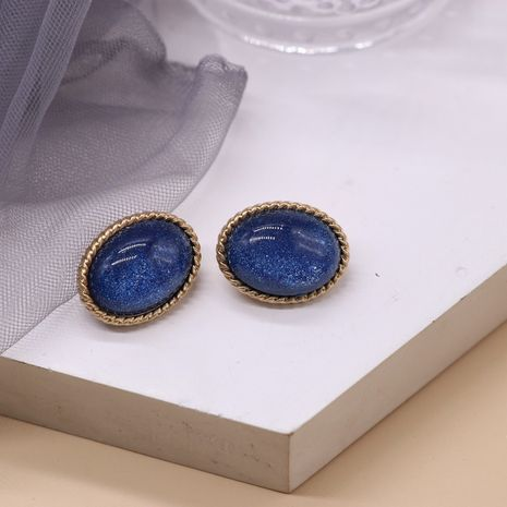Oval blue starry sky earrings  NHOM271501's discount tags