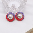 Round twocolor stitching pearl silver needle stud earrings NHOM271508