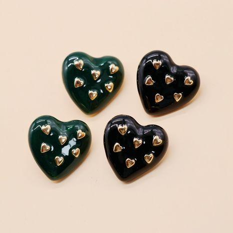 Schwarze dunkelgrüne herzförmige Ohrstecker mit Tropfglasur und silberner Nadel NHOM271510's discount tags