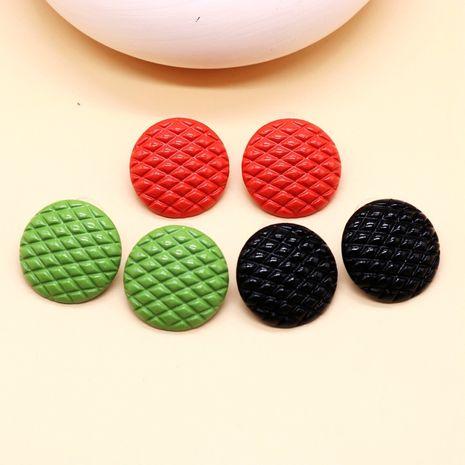 Boucles d'oreilles aiguilles argentées simples à motif noir et rouge à grille ronde NHOM271511's discount tags