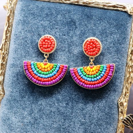 Color rice beads semi-circular ethnic style rainbow striped earrings  NHOM271515's discount tags