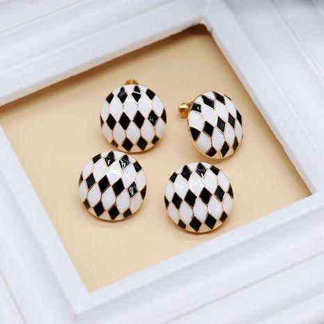 vis noir blanc goutte à goutte glaze boucles d'oreilles géométriques blocs de diamants NHOM271518's discount tags