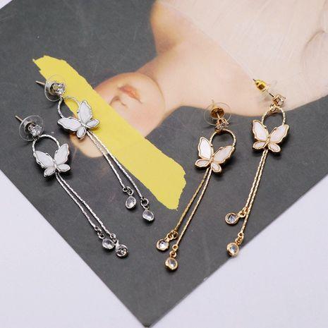 Butterfly tassel silver earrings  NHOM271519's discount tags