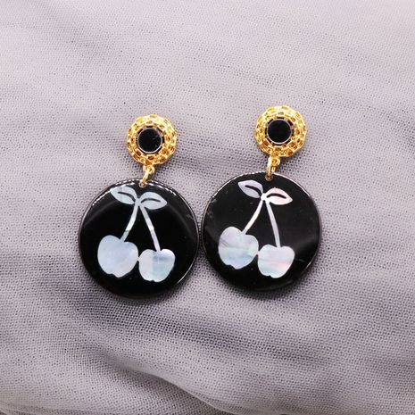 Black round resin sheet discoloration pattern silver needle earrings  NHOM271524's discount tags