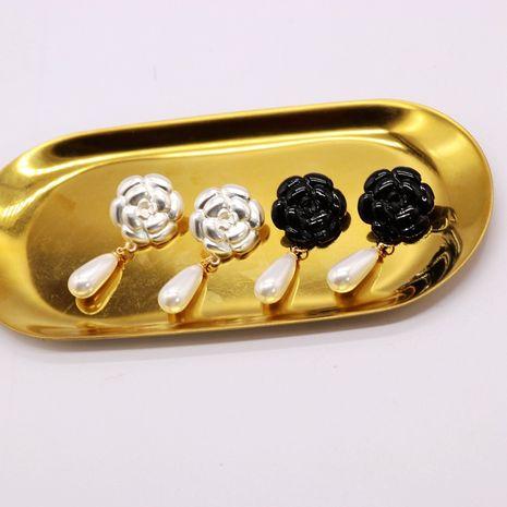 Pendientes de aguja de plata 925 con flor de rosa blanca negra NHOM271525's discount tags
