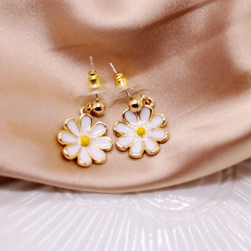 white flower small fresh silver needle earrings NHOM271527