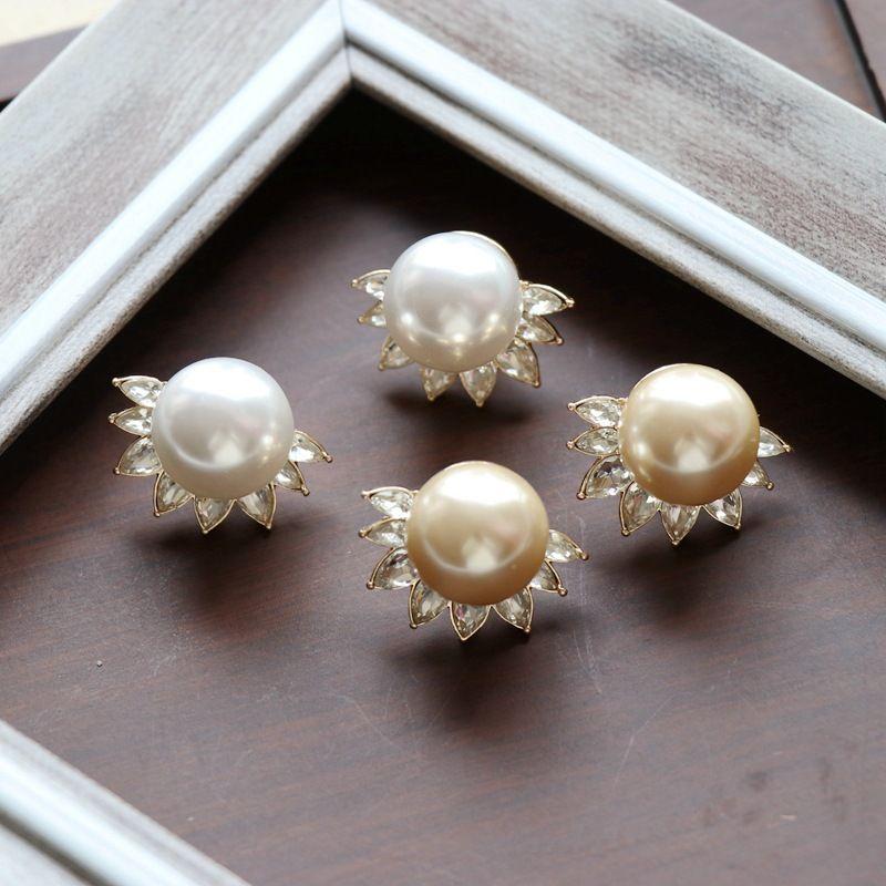 Large Pearl Silver Needle Stud Earrings NHOM271533