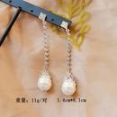 Large Pearl   Retro Shaped Pearl White Diamond Tassel Earrings NHOM271534