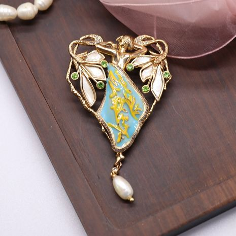 Vintage antique palace beauty pearl blue yellow colorful drawing brooch  NHOM271494's discount tags