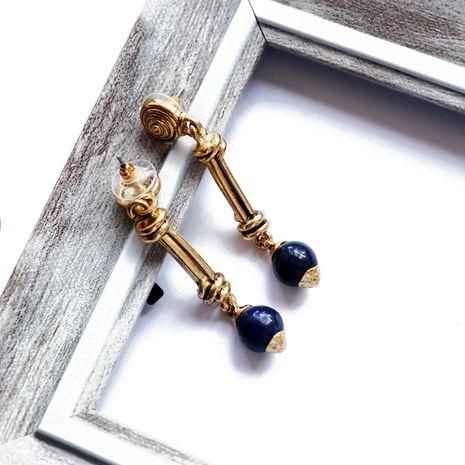 pendientes largos retro con bola de lapislázuli azul NHOM271492's discount tags