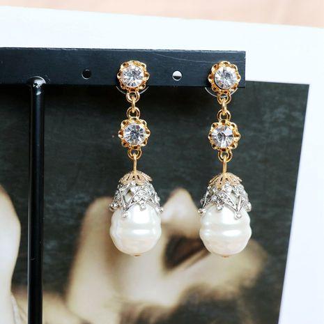 Aretes retro de perlas de plata y aguja NHOM271490's discount tags