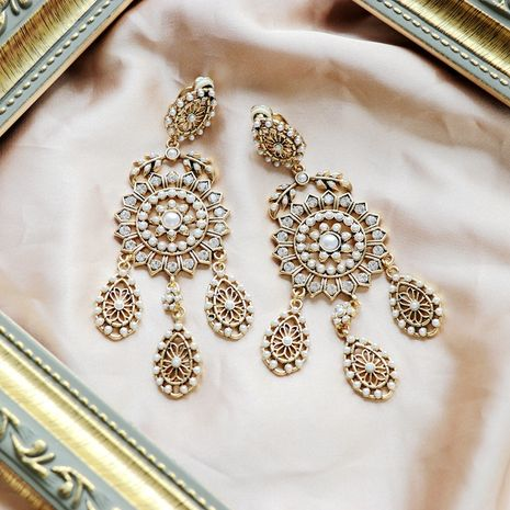 Golden retro  white millet beads  earrings  NHOM271487's discount tags