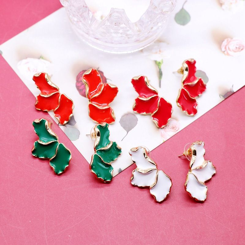 Red and green drip glaze petals silver needle earrings  NHOM271505