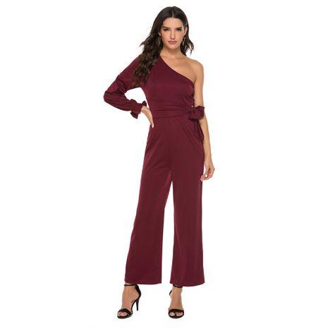 nouveau pantalon large femme à manches longues et nœud papillon NHJG273568's discount tags