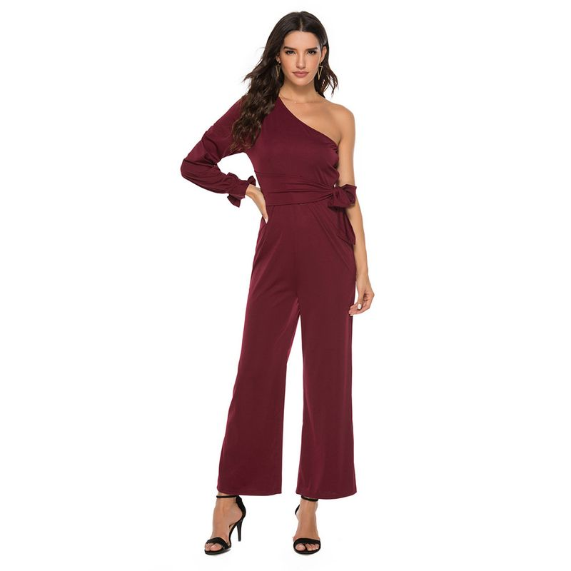 new women's one-shoulder long-sleeved bow-knot wide-leg pants  NHJG273568