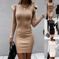 long-sleeved slim knit bag hip dress  NHWA271556